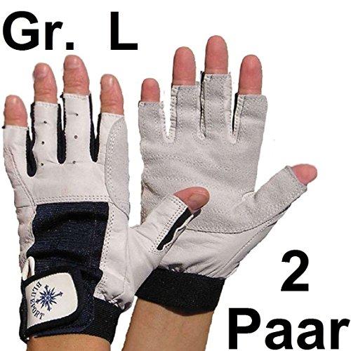 2 Paar BluePort Damen Herren Segelhandschuhe Gr. L / 9 aus Leder - 5 Finger frei / fingerlos 5 Herren-leder