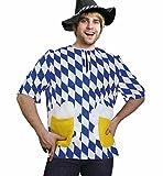 KarnevalsTeufel Oktoberfest-Kostüm Biertrinker, Bayern-Oberteil Blau-Weiß Wiesn (Medium)