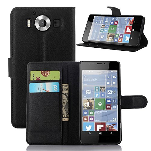 Taslar Leather Wallet Magnetic Clip Stand Flip Back Cover Case For Microsoft Lumia 950 (Black)