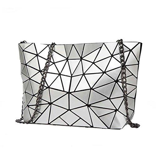 Signore Laser Rhombus Bag Pieghevole Geometrica Lingge Spalla Irregolare Bag Silver