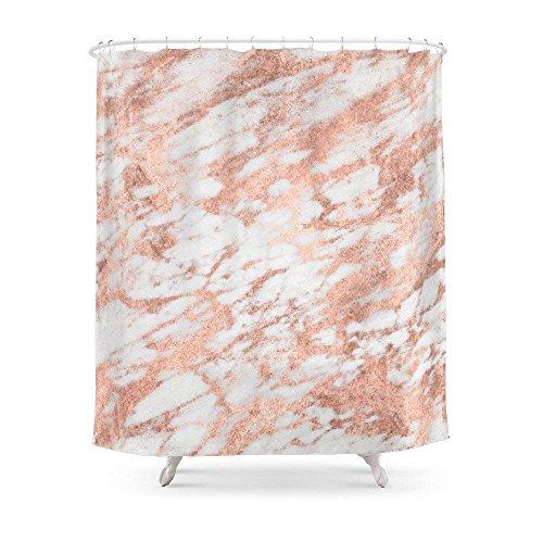 Suminla-Home Badezimmer Marmor-Pink Rose Gold Marmor weiß metallic iPhone Fall und Überwurf Kissen Design Duschvorhang 182,9cm von 182,9cm - Gold Rüschen