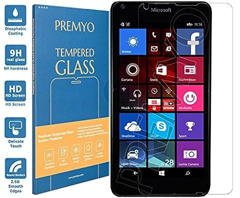 PREMYO verre trempé Lumia 640. Film protection Lumia 640 avec un degré de dureté de 9H et des angles arrondis 2,5D. Protection écran Lumia