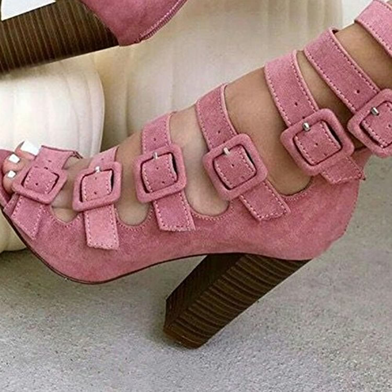 ZHZNVX Frauen High Fischmund Hohlgürtel Schnalle dicke Ferse Sandalen High Frauen Heels Reißverschluss cool 2d37b9