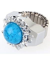 Skyllc® Elástico redondo azul turquesa de la gema de la piedra preciosa del dedo anular de tiempo de vigilancia de 20 mm con pila de botón de 1,5 V
