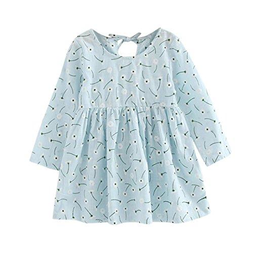 Kostüme Prinzessin Schneeflocke Mädchen (Hffan Mädchen Baumwolle Langarm Blumen T-shirt Kleid Baby Mädchen Kinder Herbst Blumen Lange Ärmel Prinzessin Party Kleid (3 Jahre alt-7 Jahre alt) (3 Jahre)