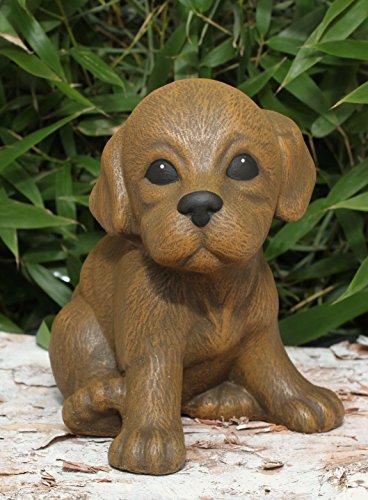 Steinfigur Welpe sitzend – Hellbraun, Hund, Deko, Figur, Garten, Stein, frostsicher