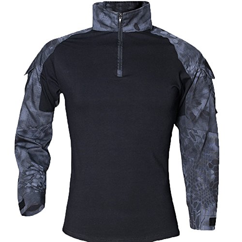 FY Taktisches Hemd Männer Militär Airsoft BDU Hemd Kampf Taktisches Langarm Jagdhemd Multicam,M (Gelben Militär T-shirt Armee)