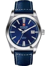 Swiss Military Hanowa - Reloj analógico automático para hombre con correa de piel, color azul