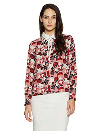 Amazon Brand – Symbol Women's Printed Neck Tie Top