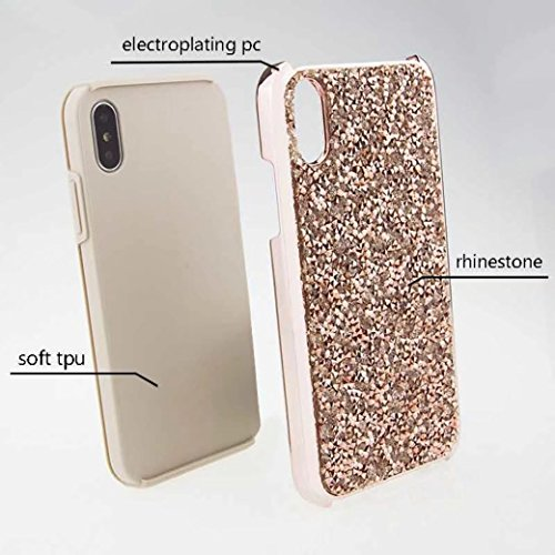 iPhone X Full Diamonds Cover, TAITOU Fashion Shiny Manual Diamante Crystal Bling Custodia, Soft Plated Bumper Anti-Scratch Ultralight Thin Phone Cover for Apple iPhone X Pink BPurple