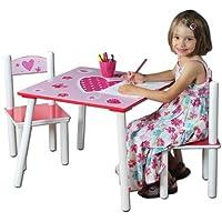Kesper 17722 1 Kindertisch mit 2 Stühlen, Motiv: Herzen, MDF farbig lackiert, FSC preisvergleich bei kinderzimmerdekopreise.eu