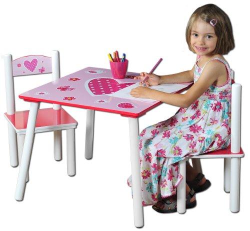 Kesper 17722 1 - Mesa Infantil con 2 sillas y Dibujos de Corazones (conglomerado de Fibra de Madera de Densidad...