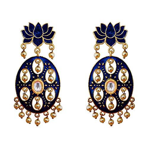 Designer Meenakari Lotus Shape Gold Plated Kundan Brass Blue Earring Set
