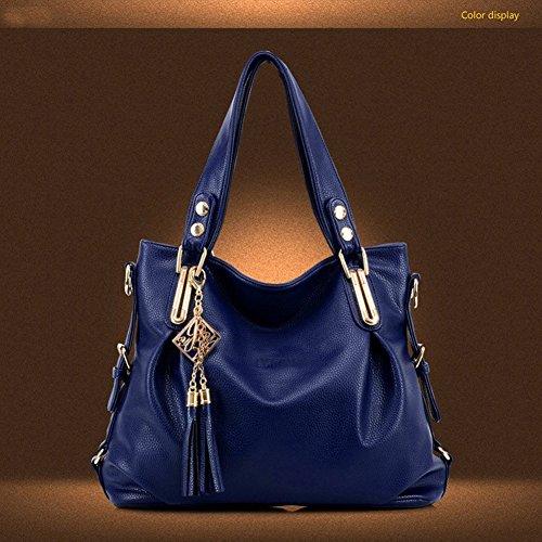 xiaoxuan europei e americani moda borse a tracolla per le donne, Deep Blue (blu) - BG00002E Black