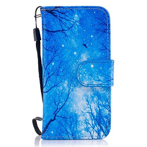 Housse de téléphone pour [iPhone 7 Plus] Cover,Etsue - Coque Folio Smart Portefeuille en Cuir Case Coque Etui pour iPhone 7 Plus,Élégant/Blle/ Coloré Mode Motif PU Leather Coque Stéréoscopique Fonctio Rêve bleu
