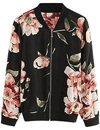 Overdose OtoñO Blusa Mujeres Moda Floral Gasa con Cremallera Bomber Jacket Outwear Coat