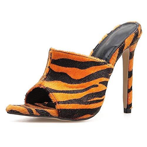 Moreforlove Sommer Pfennigabsatz Sandalen for Frauen Backless Pantoletten Slip on Leopard oder Zebra Muster Samt Leder Peep Pointed Toe Elegant (Color : Leopard Print, Size : 40 EU) Leopard Print Peep-toe-pump