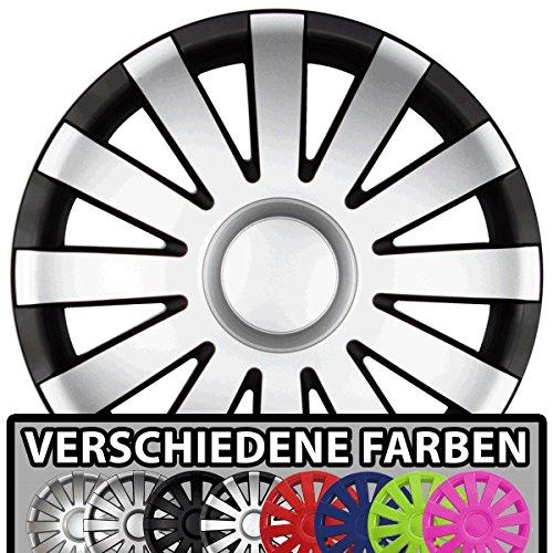 Eight Tec Handelsagentur (Farbe & Größe wählbar!) 14 Zoll Radkappen AGAT (Schwarz-Silber matt) passend für Fast alle Fahrzeugtypen (universal)