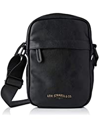 Levi's Herren Mini Crossbody Vegan Schultertasche, Schwarz (Noir Regular Black), 6x22x15 Centimeters