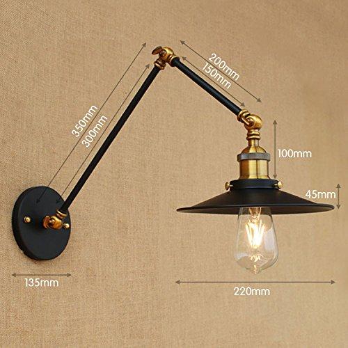 YJNB Nero Rétro Aplik Loft Vintage Lampada Da Parete Swing