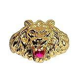 So Chic Joyas - Anillo Sello Hombre León Modelo Grande Circonita Roja Vermeil (Oro 750 sobre Plata...