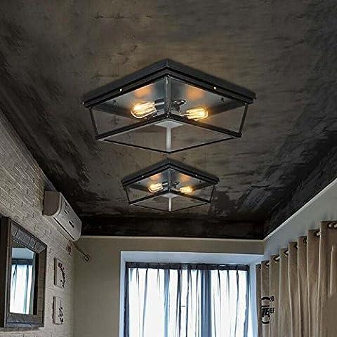 Modylee American Vintage forjado hierro restaurante Plaza techo lámpara 36CM negro