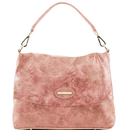 Tuscany Leather - TL Bag - Borsa a mano in pelle effetto invecchiato - TL141637 (Blu scuro) Rosa antico