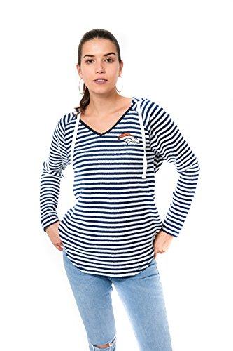 Icer Brands NFL Damen Pullover mit V-Ausschnitt, gestreift, Teamfarbe, Damen, V-Neck Hoodie Pullover Stripe Sweatshirt, Team Color, Navy, X-Large -