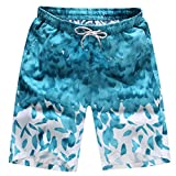 OSYARD Herren Shorts Badehose Quick Dry Beach Surfen Laufen Schwimmen Wasserhosen(M, Licht Blau)