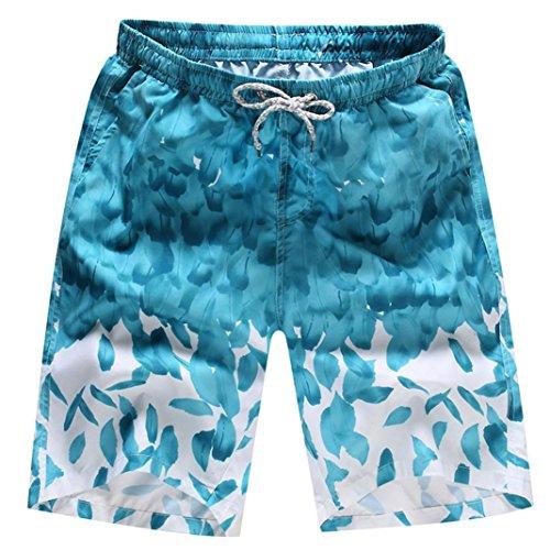 OSYARD Herren Shorts Badehose Quick Dry Beach Surfen Laufen Schwimmen Wasserhosen(M, Licht Blau) (Boot Licht Schwimmen)