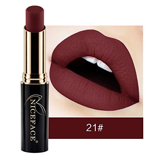 Rouge à lèvres,Lonshell Matte Gloss liquide à lèvres imperméable à l'eau 24 Couleurs (21#)