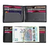 Portafoglio Uomo con RFID Porta Banconote in Pelle Fermasoldi Sottile Porta Tessere Elegante e Compatto