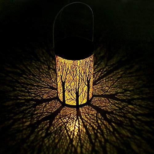 LED Solar Laterne für Draußen, Yokunat Solar Garten Hängende Laterne Zylinderförmige Nachtlicht Wasserdicht IP44 mit Lichtempfindlichkeit für Veranda/Rasen/Hof/Gehweg/Auffahrt/Weihnachten