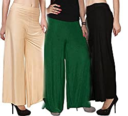 Rooliums Brand Factory Outlet Womens Light Weight Palazzo (Pack of 3) Free Size (Beige,Green,Black)