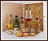 Exklusives Geschenk Set prämierte Whisky 4 Miniaturen mit 9 Edel Schokoladen + 4 Whisky Fudge + 1 Single Malt Glas, kostenloser Versand