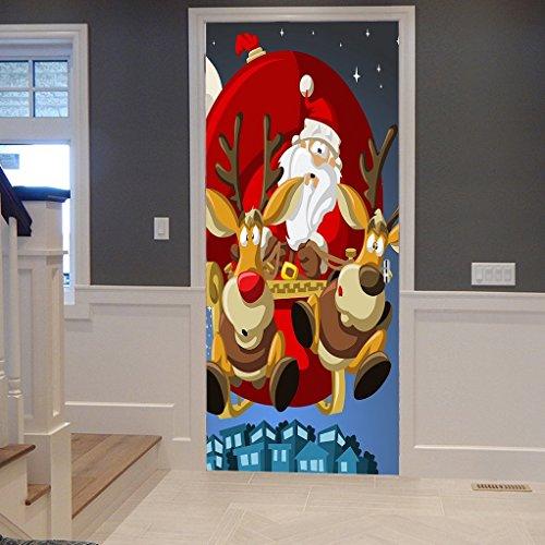A.Monamour Wandtattoos Wandbilder Cartoon Elch Hirsche Weihnachtsmann Trägt Eine Große Tasche Voller Geschenk Weihnachten Urlaub Vinyl Zimmer Tür Aufkleber Tapeten Wandbilder Abnehmbare Aufkleber (Weihnachten Geschenk-taschen Große)