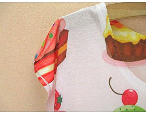 ACVIP Femme Mode T-shirt avec Manche Courte Polyester Gilet Blouse Top Eté Gâteaux