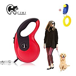 Cjmj Pet Dog Leash,lead Dog,flexible Freely Instant Retractable Extendable Dog Lead 5m,chain Rope Dog Running Lead (Red)