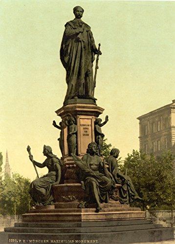 vintage-fotografie-dalla-germania-circa-1890-1910-statua-di-re-bavaria-maximilian-di-ii-monaco-bavar