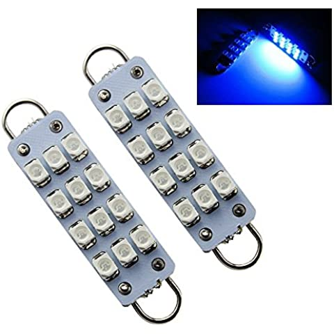 Grandview 12 V DC LED lampadine 12 SMD 1210 3528 Chip luci Festoon 44 mm Rigido Loop per Car Interior (Lampadina Loop Rigido)