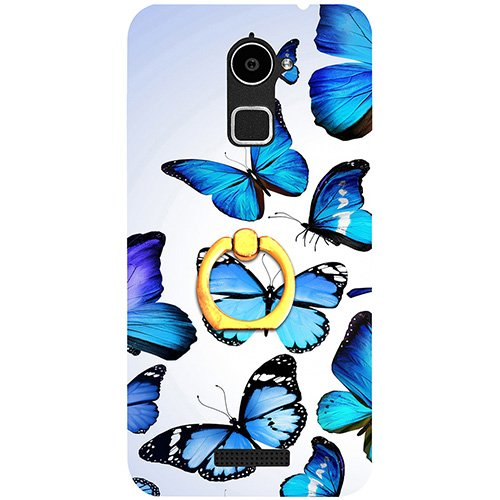 Casotec Flying Butterfly Colorful Design 3D Printed Hard Back Case Cover with Metal Ring Kickstand for Coolpad Note 3 Lite