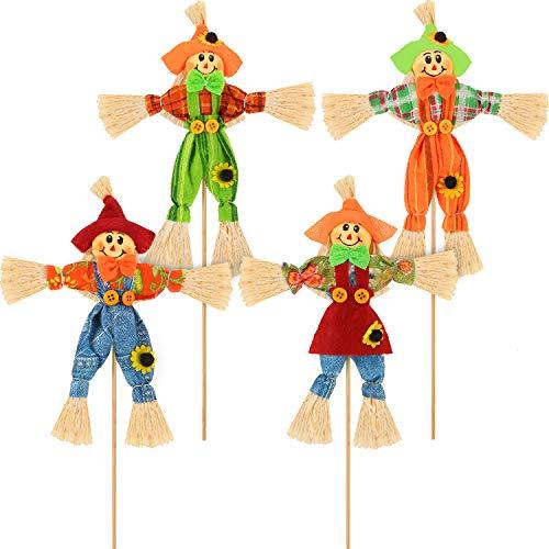 Blulu 4 Stücke Halloween Harvest Vogelscheuche Dekor Herbst Vogelscheuchen Garten Kleine Herbst Vogelscheuche Dekoration für Thanksgiving, Party, im Freien