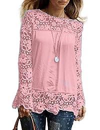 DOGZI Mujer Blusa Camisa Manga Larga para Gran tamaño Tops Blusa de Encaje Informal Blusa de algodón Suelta Camisa de chifón Encaje de…