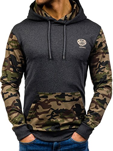 BOLF �?Sweat-shirt con cappuccio - Maglione sportivo �?ATHLETIC 0410 �?Uomo Anthracite