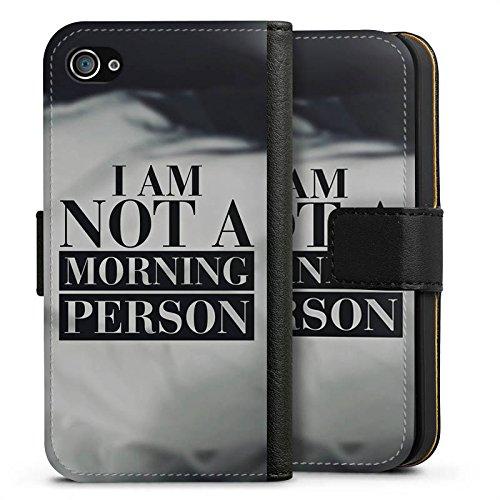 Apple iPhone X Silikon Hülle Case Schutzhülle Morgenmuffel Sprüche Statement Sideflip Tasche schwarz