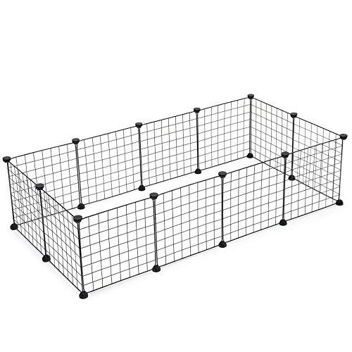 SONGMICS Verstellbares Laufgitter für Kleintiere und Meerschweinchen inkl Gummihammer Gittergehege für Innen Individuell zusammenbaubar 143 x 73 x 36 cm (B x H x T) Schwarz LPI01H
