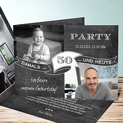 Originelle Einladung zum 50 Geburtstag, Jahrestafel 50 20 Karten, Horizontale Klappkarte 148x105 inkl. weiße Umschläge, Grau