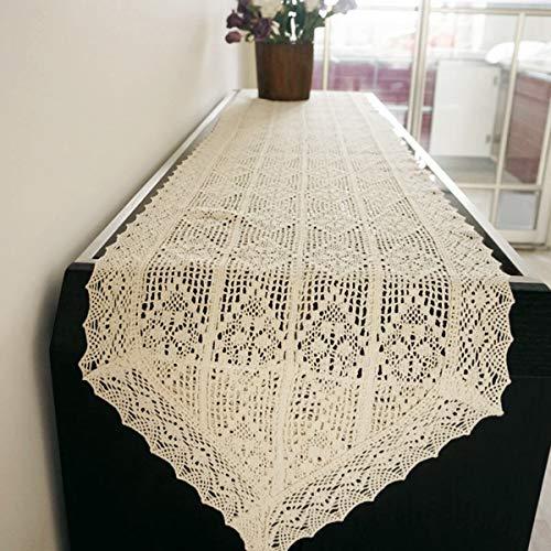 Vintage runner da tavola comò e sciarpa decorazioni per la casa ricamato uncinetto cotone beige 40x250cm