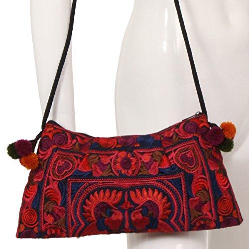 ThaiUK, Borsa a spalla donna multicolore Mocha medium Red