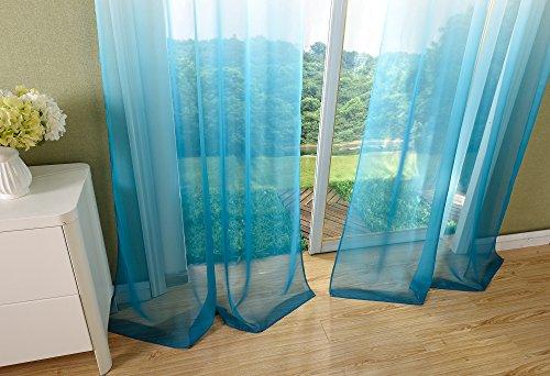 Schal transparent Farbverlauf Vorhang mit Ösen Gardine Voile, 2 Stück 245×140, Türkis, 204202 - 6
